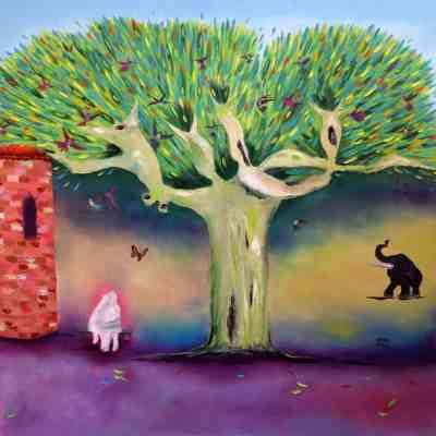 """Tree of Love. Oil. 40""""X40"""". NAFS"""