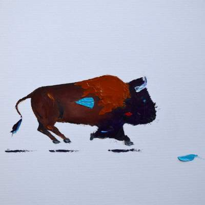 """Lafayette Buff. Oil. 16""""X20"""". Available."""