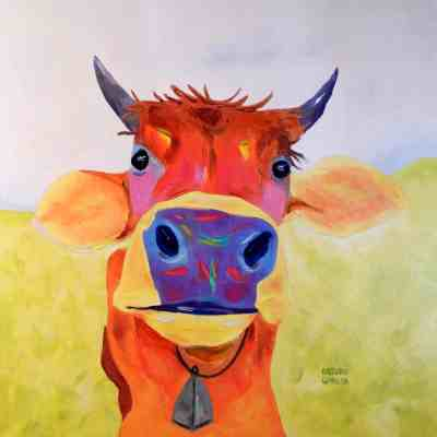 "Curious Cow. Oil. 36""X36"". Original SOLD."