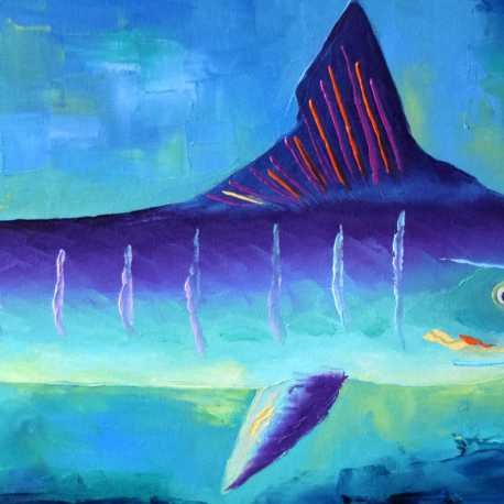 """The Giggling Marlin. Oil. 16""""X40"""". Available."""