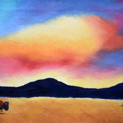 """Sky Bison. Oil. 12""""X24"""". Available for Sale."""