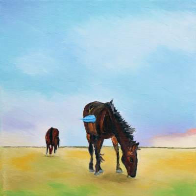 "Morning Graze. Oil. 12""X12"". SOLD."