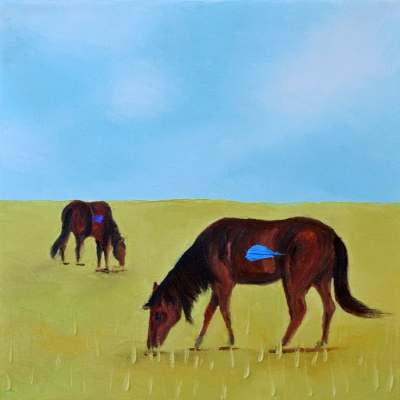 "Morning Graze. Oil. 10""X10"" Original Available."