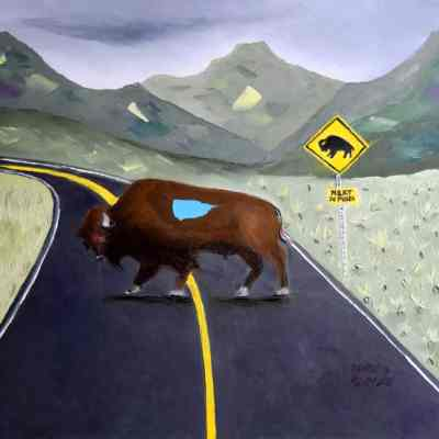 """Buffalo Crossing. Oil. 24""""X30"""". Available for Sale."""