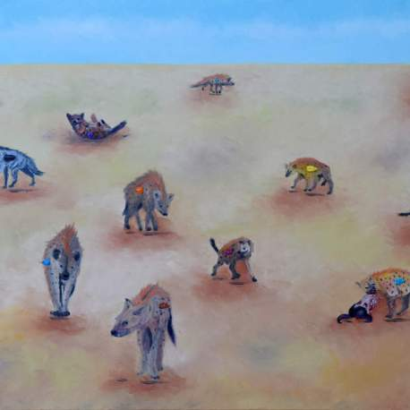 """Party at the Savanna. Oil. 24""""X48"""" Available"""