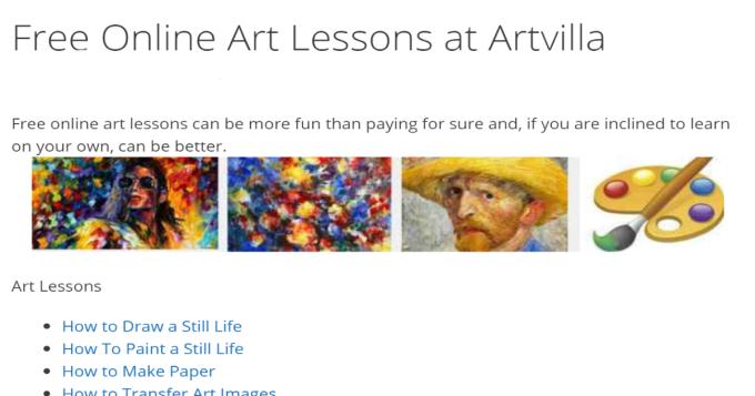 Free Online Art Lessons at Artvilla - Artvilla
