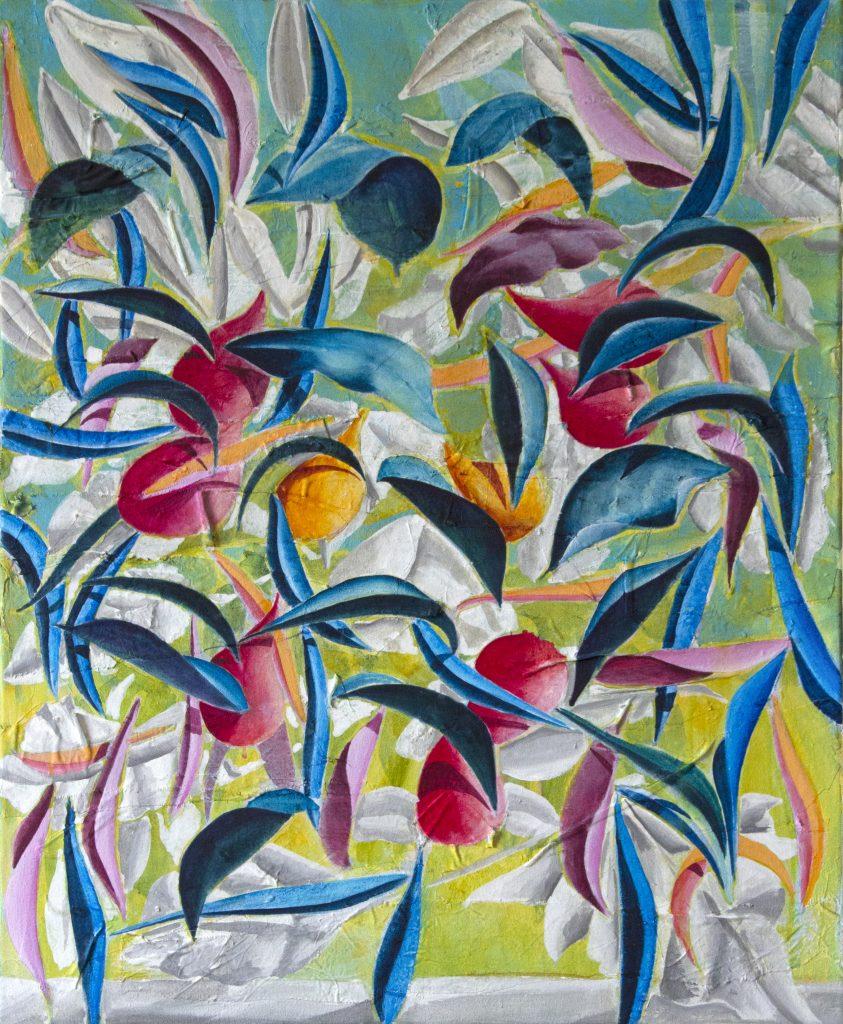 Nicholas Johnson, Foliate Suspension (2019). Acrylic paint, pigment, marble dust and fabric on canvas, 80 x 65 cm.