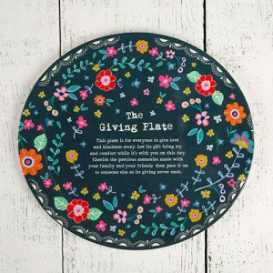 Navy Floral Giving Plate