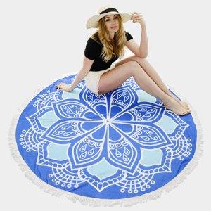 Boho Round Beach Towel - Blue Flower