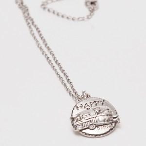 Happy Camper Circle Pendant Necklace