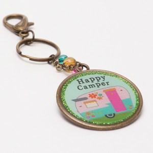 Circle Happy Camper Keychain