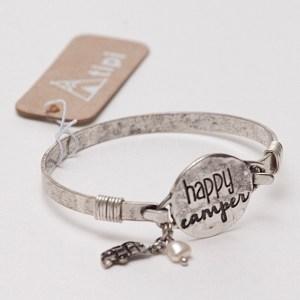 Happy Camper Wire Bracelet - Antique Silvertone