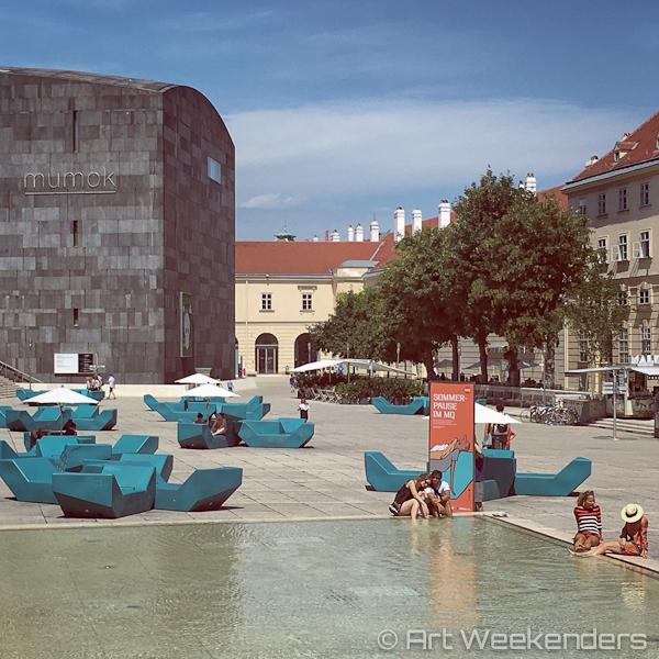 A summer day in the Museumquartier in Vienna Austria