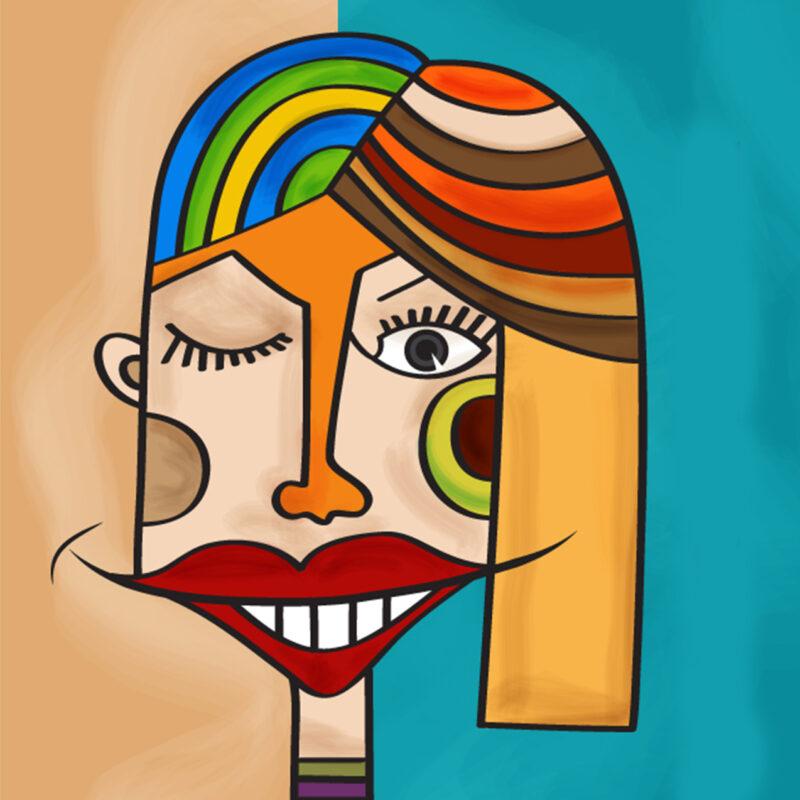 Banner feestje portretjes schilderen