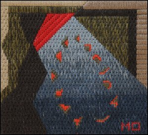 Mark Olshansky abstract needlepoint African Night Seeds