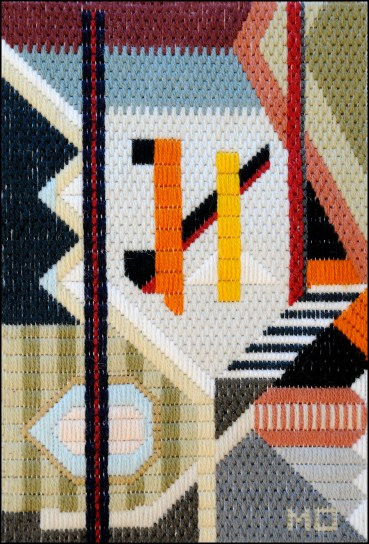 Mark Olshansky abstract needlepoint Attic View