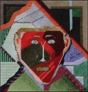 Mark Olshansky abstract needlepoint Bass