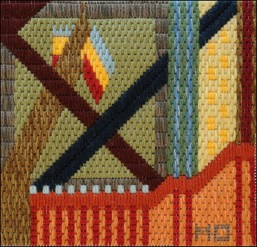 Mark Olshansky abstract needlepoint Last Flag