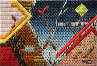 Mark Olshansky abstract needlepoint Moonbarker
