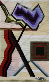 Mark Olshansky abstract needlepoint Out for a Stroll