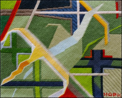 Mark Olshansky abstract needlepoint Reflective Bird