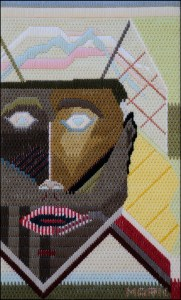 Mark Olshansky abstract needlepoint The Squeek
