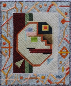 Mark Olshansky abstract needlepoint He Went Thataway