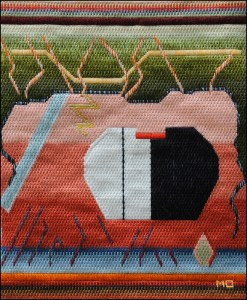 Mark Olshansky abstract needlepoint Neanderthal Café