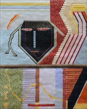 Mark Olshansky abstract needlepoint The Mendacious Court Accountant for Henry VIII