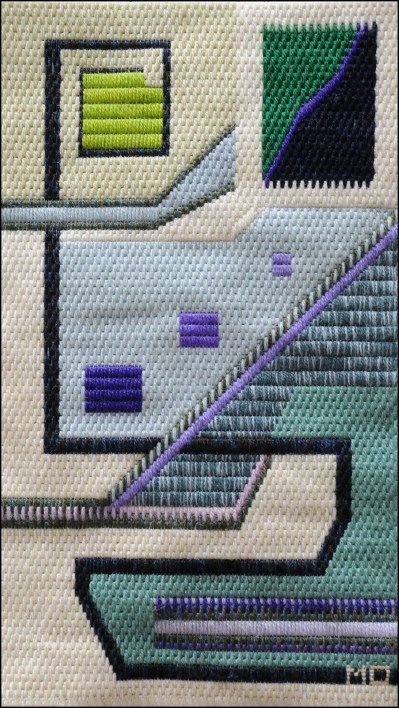 Mark Olshansky abstract needlepoint Blue Buffoon