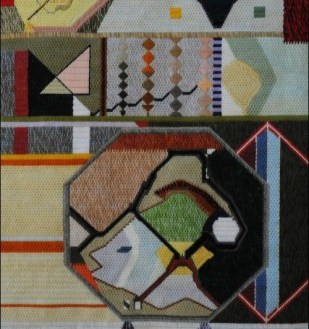 Mark Olshansky abstract needlepoint Four Lemon Life