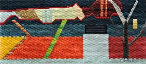 Mark Olshansky abstract needlepoint Cloud Sticks