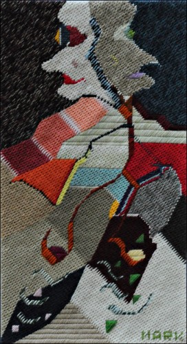 Mark Olshansky abstract needlepoint 14th Inning Stretch