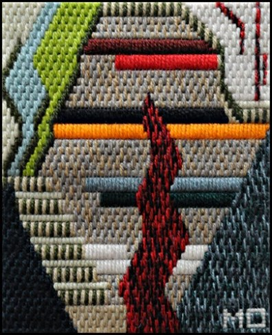 Mark Olshansky abstract needlepoint Before and Behind Bars