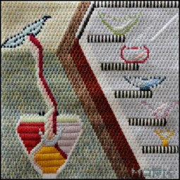 Mark Olshansky abstrac needlepoint Decorator Spit Buckets