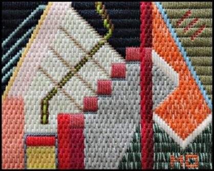 Mark Olshansky abstract needlepoint Skylight No Nude