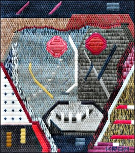 Mark Olshanskt abstract needlepoint #14, Temporarily