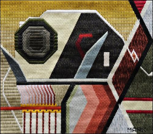 Mark Olshansky abstract needlepoint Almost