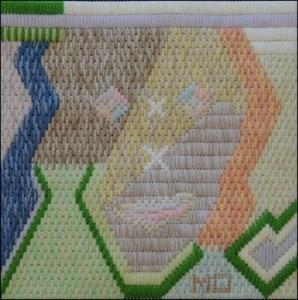 Mark Olshansky abstract needlepoint Hello How Are You