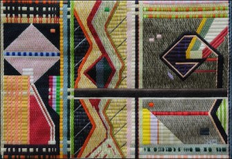 Mark Olshansky abstract needlepoint Drawn and Quintered
