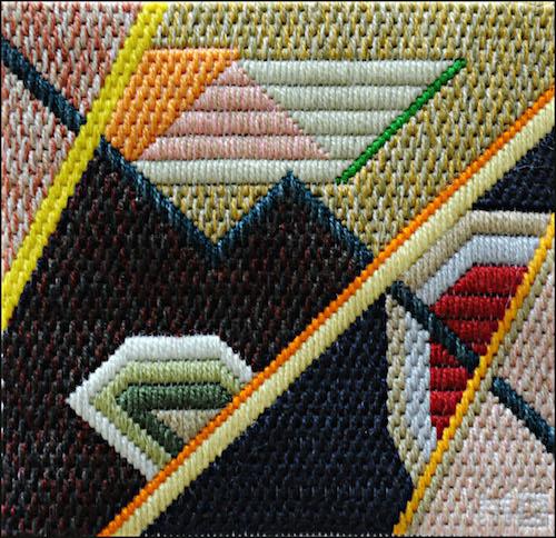 Mark Olshansky abstract needlepoint Canine Squinkle