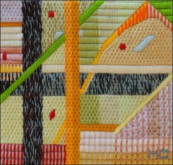 Mark Olshansky abstract needlepoint Chicken Pox Lite
