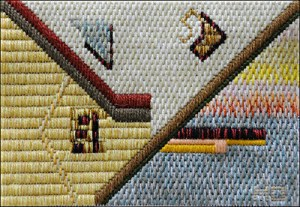 Mark Olshansky abstract needlepoint Hockey Stick Shorty