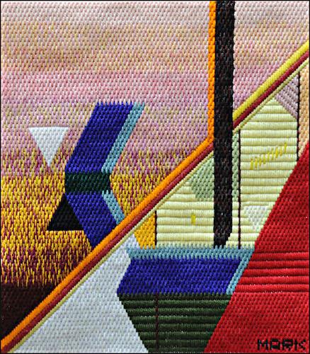 Mark Olshansky abstract needlepoint Nebraska Balcony