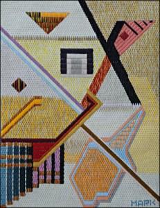 Mark Olshansky abstract needlepoint Goose Books with Gourd