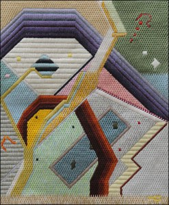 Mark Olshansky abstract needlepoint The Store is Open