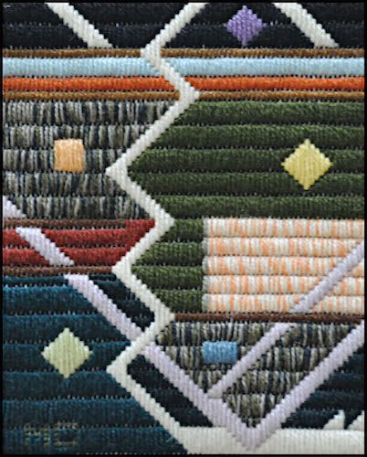 Mark Olshansky Abstract Needlepoint Base Hit Up the Middle