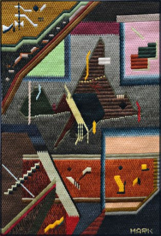 Mark Olshansky abstract needlepoint Cave Painting 2018