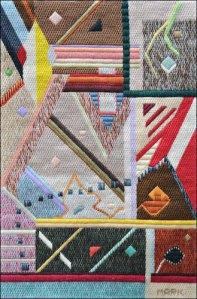 Mark Olshansky abstract needlepoint Upstairs Upstairs
