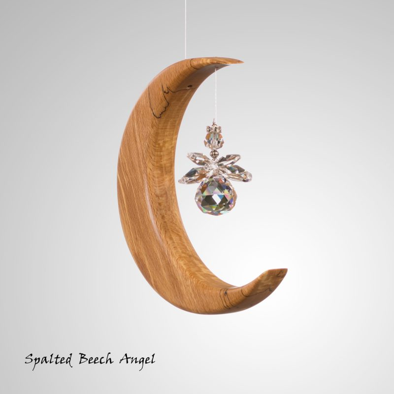 Wooden Moon suncatcher with crystal rainbow maker